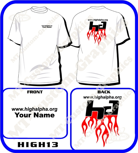 "High Alpha""HA"" Flamed T-shirt Front & Back logos"