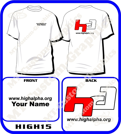 "High Alpha""HA"" T-shirt Front & Back logos"