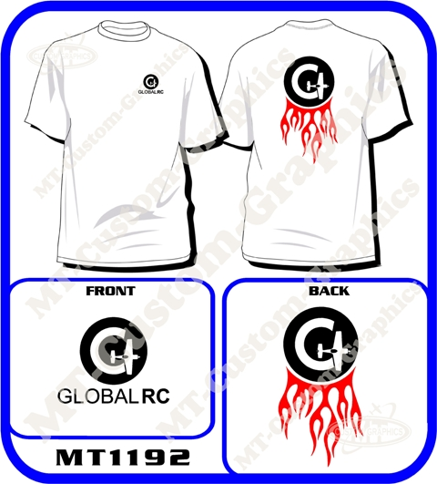 Global-RC Flamed T-Shirt Front & Back logos