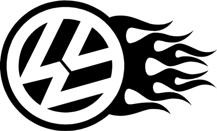 Vw flamed logo sticker